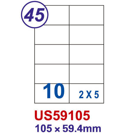 【Unistar 裕德 10格 電腦標籤】 US59105 105×59.4mm (100張/盒)