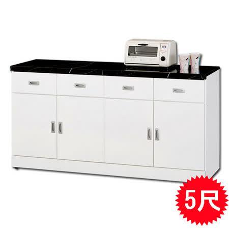 日式量販 歐風家居5尺白色碗盤收納櫃