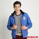 BOBSON 男款織帶配色防風外套(藍34030-54)