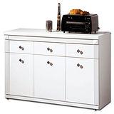 日式量販 簡約純白4尺白色碗盤收納櫃