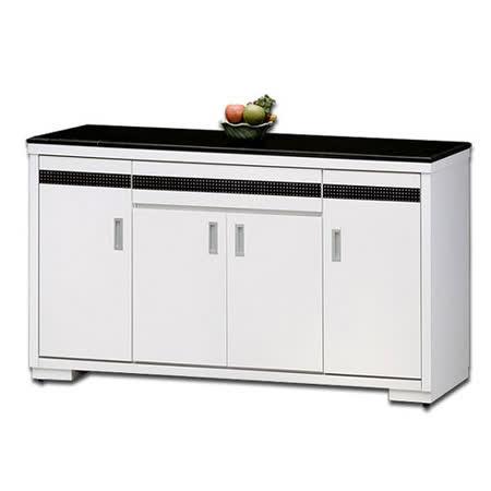 日式量販 現代設計5尺石面白色碗盤收納櫃