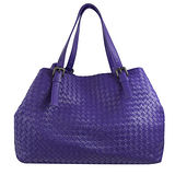 BOTTEGA VENETA 純手工小羊皮編織造型肩背包.紫(大)
