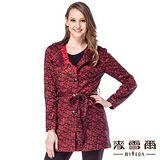 【麥雪爾】抽象格紋蕾絲長版外套