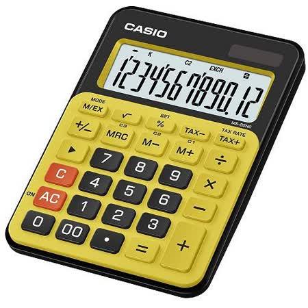 【CASIO 卡西歐】MS-20NC-BYW 黃黑 12位 計算機