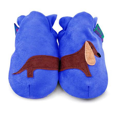 英國 Funky Feet 手工學步鞋 室內鞋 藍色臘腸狗 6-24M