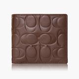 COACH Men's Accessories 高級皮革對摺式短夾_咖啡色