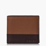 COACH Men's Accessories 高級皮革對摺式短夾_咖啡