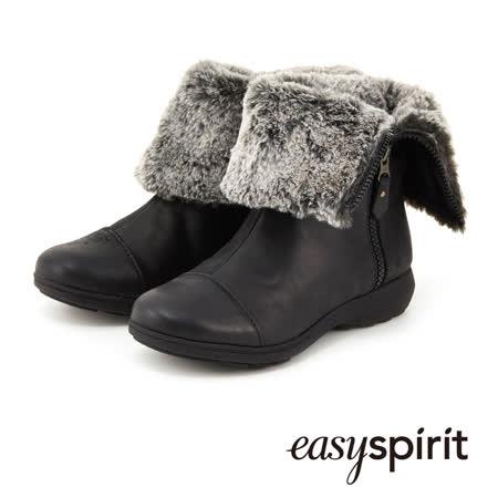 Easy Spirit 毛海反折側拉鍊麂皮短靴 -黑