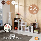 《BuyJM》環保低甲醛厚2.5公分組合收納櫃/書櫃(2入組) 3色