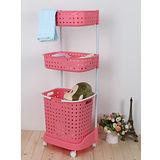 日式多層組合式收納籃(粉紅色)