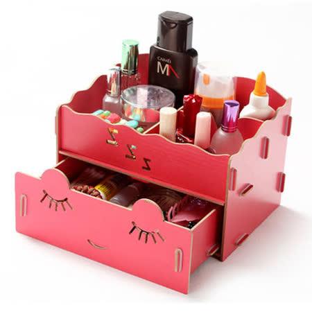 韓版DIY抽屜式木制收納盒(紅色)