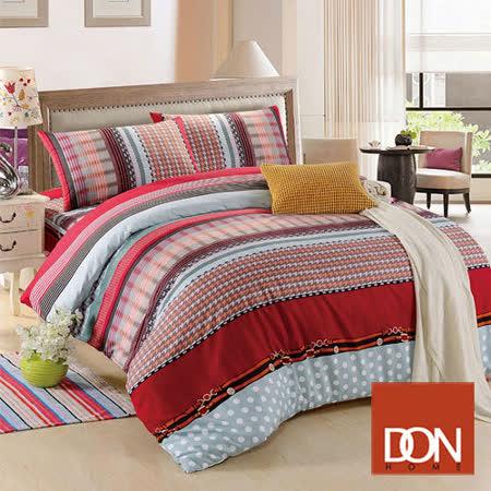 《DON 牛仔風情》加大四件式蜜絲絨全舖棉兩用被床包組