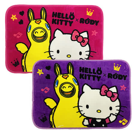 【享夢城堡】HELLO KITTY & RODY Hello Friend 法蘭絨地墊2入