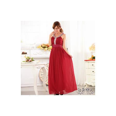 【白色戀人中大尺碼】紅色圓領寶石鑲亮片雪紡長禮服