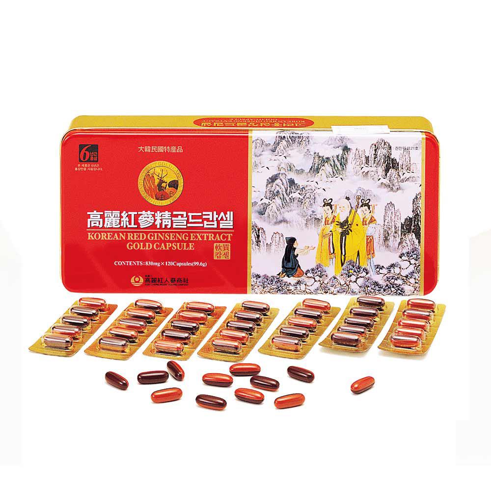 金蔘-6 年根韓國高麗紅蔘鹿茸精膠囊(120顆/盒,共1盒)加贈蔘芝王3瓶