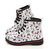 童鞋城堡-Hello kitty LOGO塗鴉風馬丁鞋713580-白