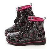 童鞋城堡-Hello kitty LOGO塗鴉風馬丁鞋713580-黑