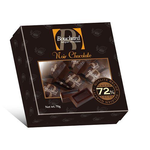 比利時72^%純黑巧克力片精巧盒70g