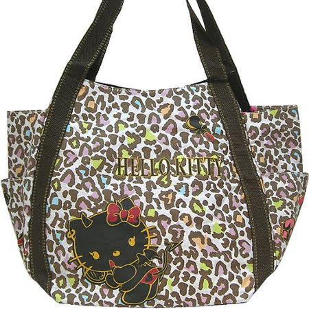 【波克貓哈日網】Hello kitty 凱蒂貓◇帆布大肩包◇《小惡魔豹紋》