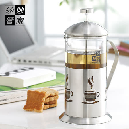 【妙管家】不鏽鋼濾網1100ml手沖泡茶器(2入組)#99362