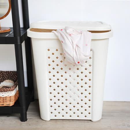 【質感生活】古典藤蔓附蓋洗衣籃(57公升)