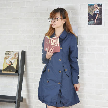 Rainy days英倫雙排釦OL款風雨衣/風衣/雨衣 (119深藍)