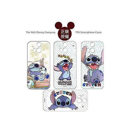 迪士尼授權正版 Disney HTC One M8  透明彩繪軟式保護殼 手機殼 (史迪奇款)