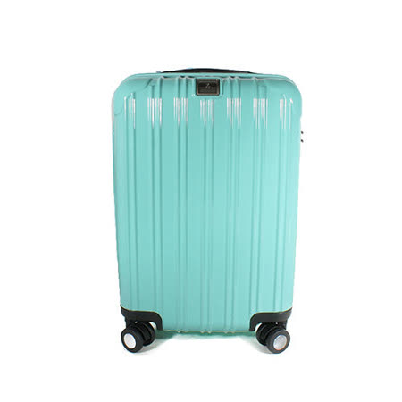 MOM JAPAN 日本品牌 18吋 PC輕量鏡面直線條飛機輪旅行箱 蒂芬妮藍 MF5008-18-SW