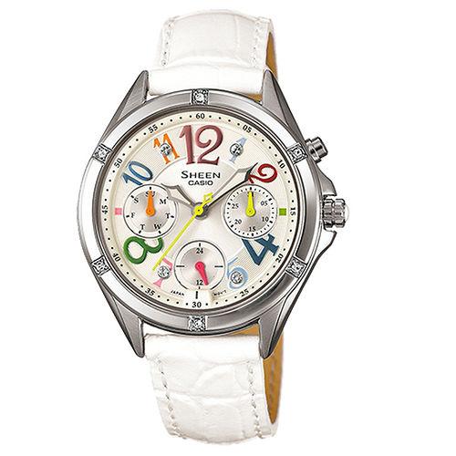 CASIO SHEEN 閃耀霓虹數字晶鑽時尚腕錶-彩色x白皮帶