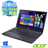 Acer宏碁 E5-551G-84FS 15.6吋 四核心 2G獨顯 Win8.1效能筆電 (黑)【贈原廠無線滑鼠+清潔組+鍵盤膜+三轉二插頭】