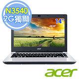 Acer E5-411G-P0FP 14吋 N3540 四核 500G 2G獨顯 筆電–送靜電除塵器+水療按摩器