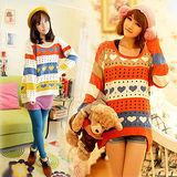 《韓國K.W.》拼色愛心寬鬆鏤空針織衫毛衣上衣