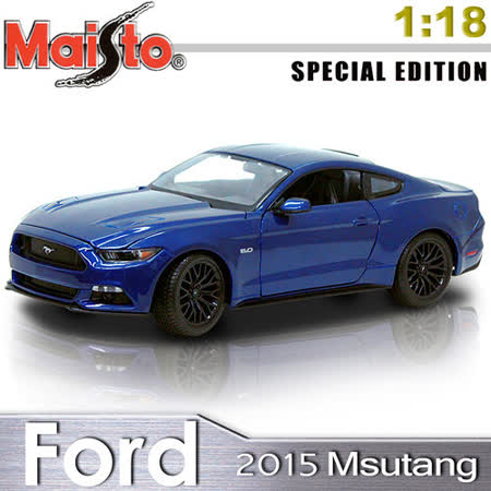 【Maisto】2015 Ford Mustang 1:18 合金模型車 (寶藍)