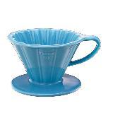 Tiamo V01 花瓣 陶瓷咖啡濾杯組【粉藍色】附濾紙.量匙.滴水盤 1-2杯份 (HG5535 BB)