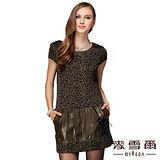 【麥雪爾】豹紋拼接皮革連身短洋裝