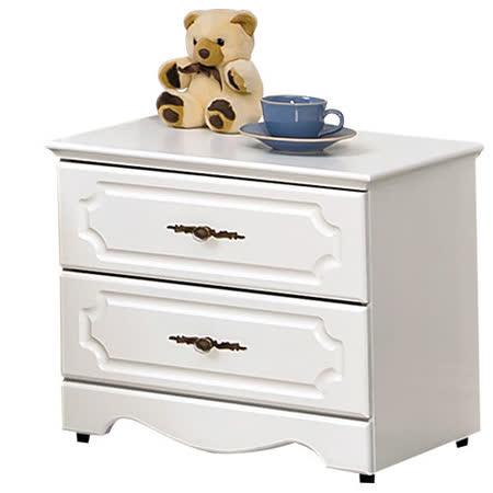 HAPPYHOME 安東尼烤白色床頭櫃027-2