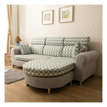 【日安家居】Rosalind罗莎琳经典方格L型布沙发(共二色)