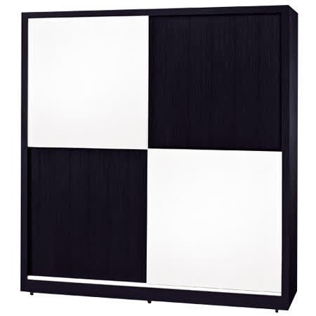 HAPPYHOME 黑白配6尺推門衣櫃035-5