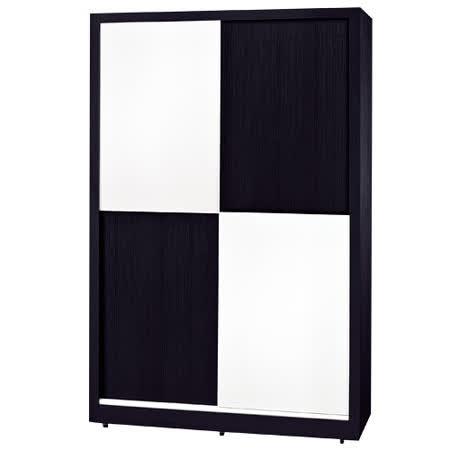 HAPPYHOME 黑白配4尺推門衣櫃036-2