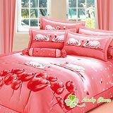 【幸運草】天鵝飛舞 加大高級精梳棉ABC版八件式床罩組