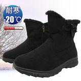 【時尚英倫】女新款 低筒牛角扣專業保暖雪鞋、雪靴(附冰爪)_黑色 SN205