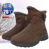 【時尚英倫】女新款 低筒牛角扣專業保暖雪鞋、雪靴(附冰爪)_咖啡 SN205