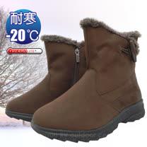 【時尚英倫】女新款 低筒牛角扣專業保暖雪鞋、雪靴(附冰爪)_ SN205 咖啡