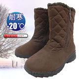【時尚派對】女新款 中筒專業保暖雪鞋、雪靴(附冰爪)_咖啡 SN195