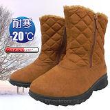 【時尚派對】女新款 中筒專業保暖雪鞋、雪靴(附冰爪)_棕色 SN195