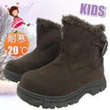 【冰雪奇緣】兒童新款 低筒牛角扣專業保暖雪鞋、雪靴(附冰爪)_咖啡 SN205C