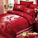 【幸運草】玫瑰情人 加大高級精梳棉ABC版八件式床罩組