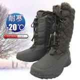 【時尚輕熟女】女新款 高筒格菱紋流蘇專業保暖雪鞋、雪靴(附冰爪)_咖啡 SN208