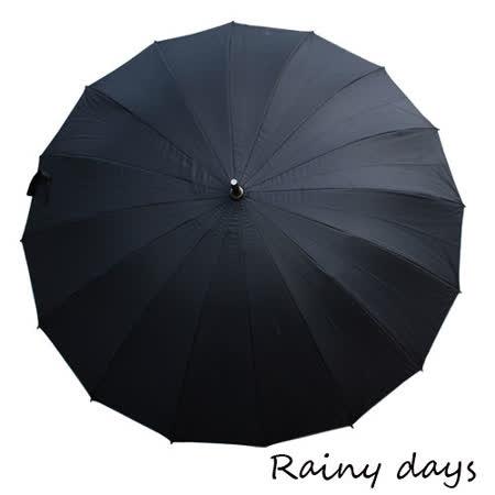 【勸敗】gohappy線上購物【Rainy days】16傘骨無敵抗風防潑銀膠手開直傘(黑色)好用嗎新光 三越 新竹 店