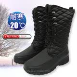 【都會輕熟女】女新款 高筒格菱紋專業保暖雪鞋、雪靴(附冰爪)_黑 SN197